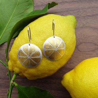 """Ohrhänger """"Lemon"""" in Silber 925 mit aufgeschweisstem Feingold, CHF 680.-"""