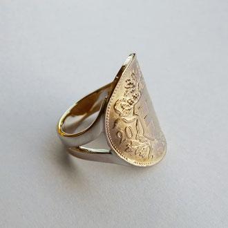 Ring mit integriertem Goldvreneli in Gelbgold 750, Kundenauftrag