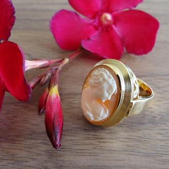 Ring in Gelbgold 750 mit einer Muschel-Gemme und Schnörkelmotiv in der Fassung, Kundenauftrag