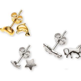 Ohrstecker mit verschiedenen Motiven in Silber, Weiss- und Gelbgold 750, Preise auf Anfrage