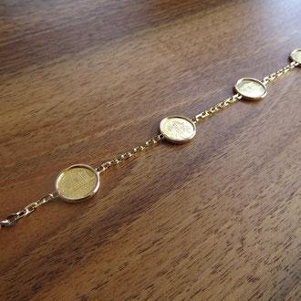 Bracelet in Gelbgold 750 mit Feingoldmünzen, Kundenauftrag