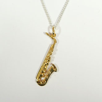Saxophon-Anhänger in Silber 925 vergoldet, ohne Kette CHF 300.-