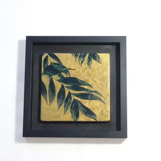 Rimpa, 21x21cm,2018, laque sur bois avec pigments et bronzines