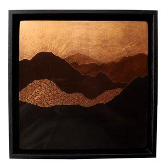 Horizon, 34x34cm, 2018, laque sur bois avec pigments et feuilles de cuivre