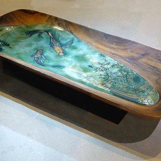 Mirages, 56x26x5cm, laque sur bois d'acacia, pigments, feuille d'aluminium et bronzines