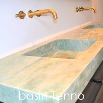 Marble basin with double sink