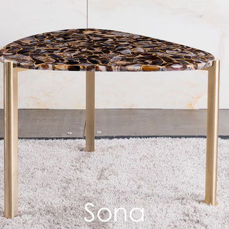 Stainless steel gold with precious stone top side table