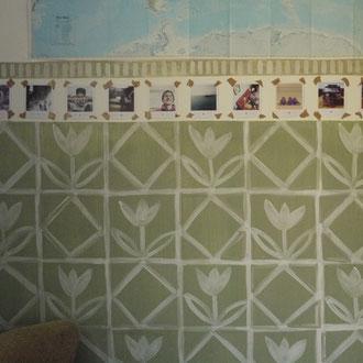 Wandmalerei Küche 'Grüne Blumen'