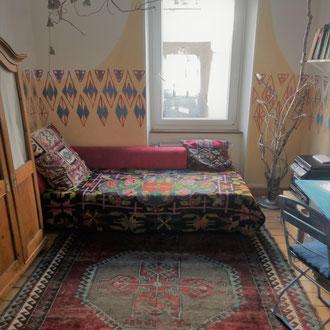 Wandmalerei Wohnzimmer ' Rauten`