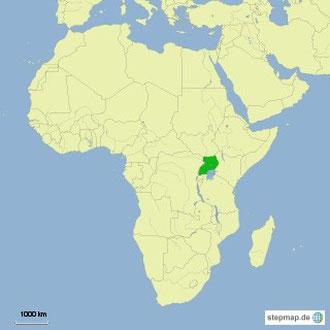 Ugandas Lage in Afrika