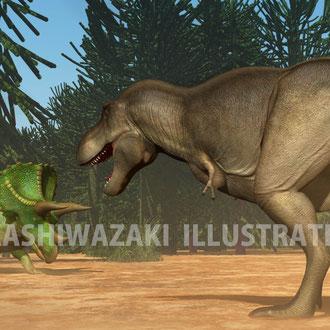狩りをするティラノサウルス