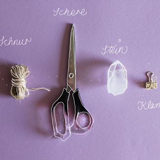 Alle nötigen Materialien herrichten: Schnur, Schere, Dekoration und eine Klammer (oder Tesafilm).