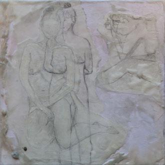 coming out – 2017 – Wachsmalerei und Zeichnungscollage auf Holz – 30 x 30 cm – CHF 780
