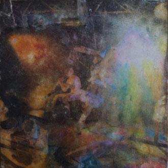 Zirkus Theater, Dampfzentrale– 2018 – Wachsmalerei und Fotocollage auf Holz –10 x 10 cm – CHF 215