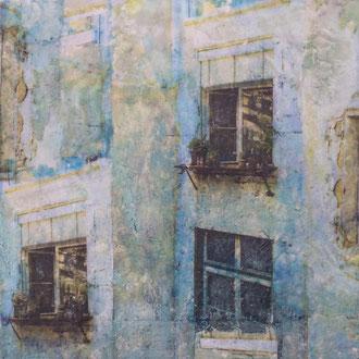 Zeitfenster – 2017 – Wachsmalerei und Fotocollage auf Holz –25 x 25 cm – verkauft