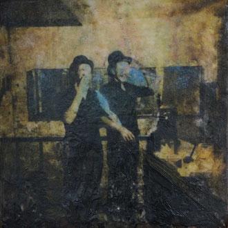 Kreissaal, Bern– 2017 – Wachsmalerei und Fotocollage auf Holz – 10 x 10 cm – verkauft
