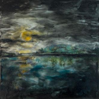 Vollmondnacht – 2012 – Wachsmalerei und Fotocollage auf Holz –20 x 20 cm – CHF 370