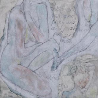 Push and pull – 2017 – Wachsmalerei und Zeichnungscollage auf Holz –15 x 15 cm – CHF 420