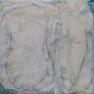 Feenstaub – 2017 – Wachsmalerei und Zeichnungscollage auf Holz – 15 x 15 cm – verkauft