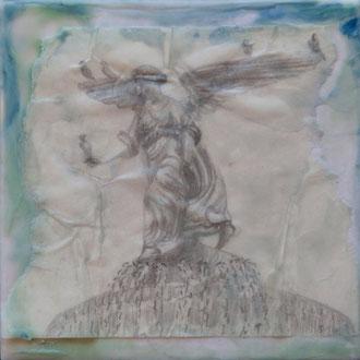 Wing beat – 2017 – Wachsmalerei und Zeichnungscollage auf Holz –10 x 10 cm – CHF 180