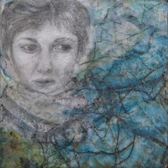 Selbstportrait – 2017 – Wachsmalerei, Foto- und Zeichnungscollage auf Holz – 10 x 10 cm – CHF 250