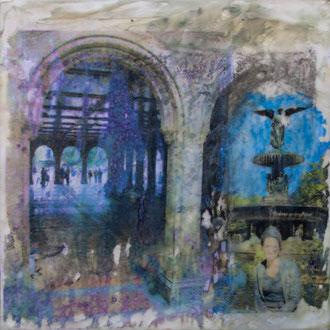 Eingangstor –  2017 – Wachsmalerei und Fotocollage auf Holz –30 x 30 cm – verkauft