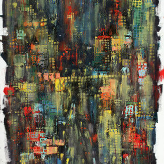 New York bei Nacht II – 2014 – Öl auf Papier – 50 x 39 cm – verkauft