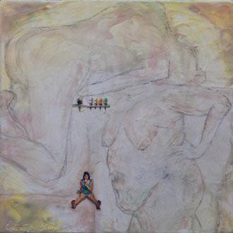 self-consuming – 2017 – Wachsmalerei und Zeichnungscollage auf Holz – 20 x 20 cm – verkauft