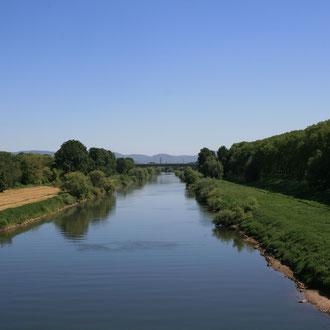 Blick auf den Neckar von der Riedbahnbrücke in Richtung Heidelberg