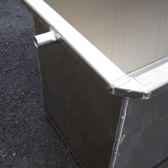 Aluminium Wassertrog 3-fach Abgekantet, mit Überlaufrohr