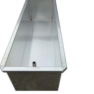 Aluminium Wassertrog mit Ablassrohr nach Unten