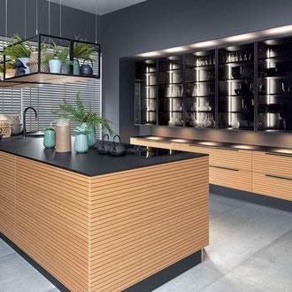 cuisine intérieur design toulouse cuisine équipée haut de gamme cuisine bois et noire cuisine avec îlot central moderne tendance contemporaine