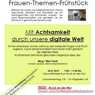 """Impulsvortrag ISGS Bruck/Mur, """"Mit Achtsamkeit durch die digitale Welt"""", Themenfrühstück"""