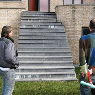 Escalier par lequel s'évacue les eaux de pluies