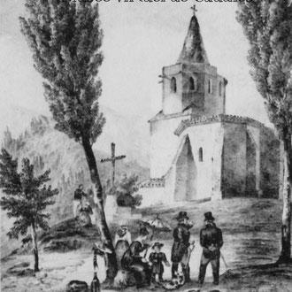 """Illustration extraite de """"Ermitages du Diocèse de Perpignan"""" de Louis Just (1860): Lithographie de De Basterot"""