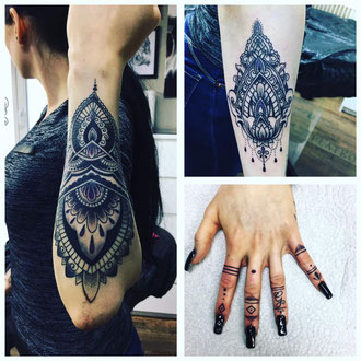 Mandala und Linework auf Arm und Hand