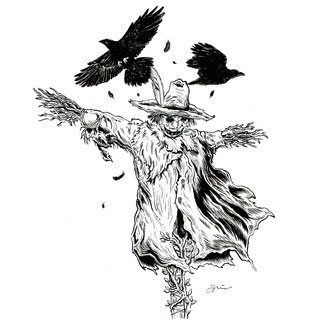 Inktober scarecrow drawing