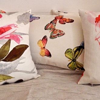 Tissu imprimé papillons, fleurs, oiseaux