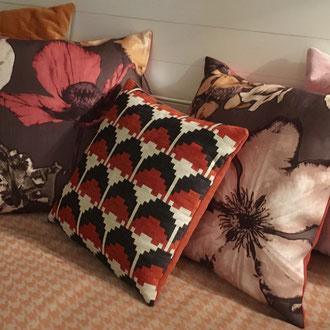 Velours chenille géométrique, lin design fleurs