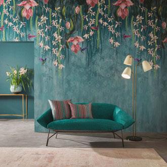 papier peint panoramique floral, orchidées