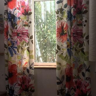 Rideaux lin floral XXL