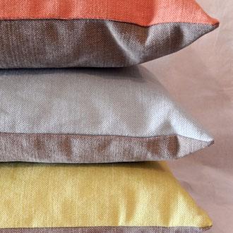 Tissu lin coton, housse  de coussin bi-color