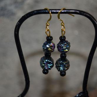 Modeschmuck Ohrhänger aus alten irisierenden Kunststoff Perlen, handgefertigtes Unikat, made by Zeitzeugen-Manufactur. 2,80 €