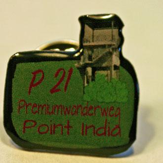 P21 Point India Ansteckpin. Ideales Geschenk. Kann vor Ort beim Lüderbacher Förderverein e.V. erworben werden, oder online bestellen unter info-luederbach@t-online.de per Vorkasse. €4,-/Stück zuzüglich €2,- Versandkosten.