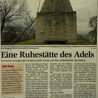 Werra-Rundschau-Artikel über die Lüderbacher Grabpyramide