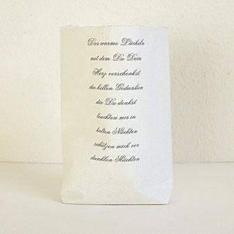 Lichttüte aus Büttenpapier mit Gedicht bedruckt (Beispiel)
