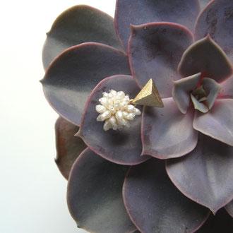 Ohrstecker aus vergoldetem Sterling-Silber mit Cluster aus Süsswasser-Perlen