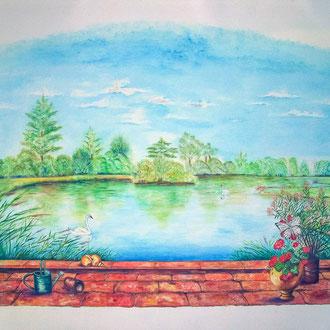 Fresque murale - Au bord de l'étang (4,00 m x 2,40 m ) - Copyright Pascale Richert
