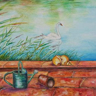 Fresque murale - Au bord de l'étang (Détail) - Copyright Pascale Richert