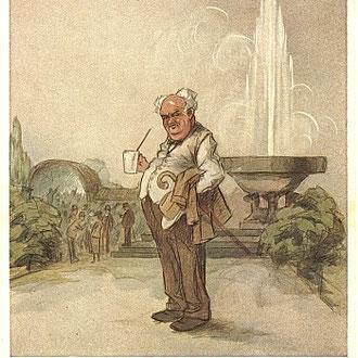 Heinz Geilfus Herz-Postkarte Nr. 15 -- Wie trank er gern das Dunkle udn das Helle, jetzt steht der Knabe traurig an der Quelle!